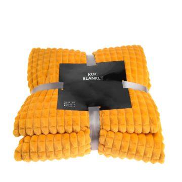 Koc, pled z serii Blanket - musztardowy, 200x220 cm